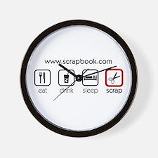 Eat Drink Sleep Scrap Wall Clock