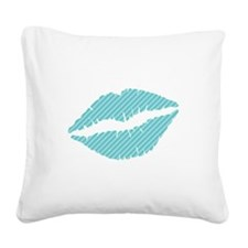 Blue Diagonal Stripes Lips Square Canvas Pillow