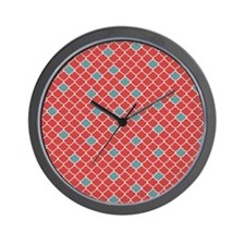 Moroccan Red and Blue Wall Clock