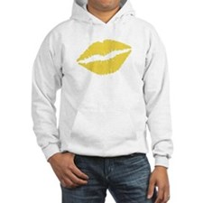 Yellow Crosshatch Lips Hoodie