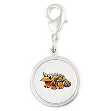 Cartoon Ankylosaurus Silver Round Charm