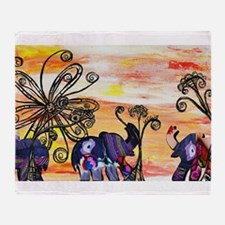 Indian Elephant Parade Throw Blanket