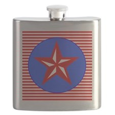 Patriotic Star Red White Blue Flask