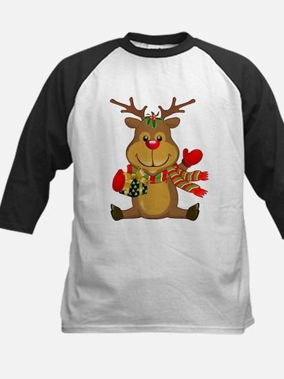 Sitting Reindeer w Package Scarf Baseball Jersey
