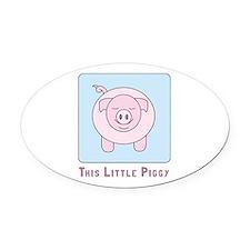 This Little Piggy Oval Car Magnet