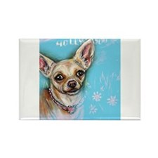 Hollywood Chihuahua flowers Magnets