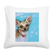 Hollywood Chihuahua flowers Square Canvas Pillow