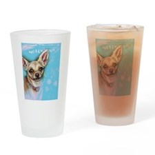 Hollywood Chihuahua flowers Drinking Glass