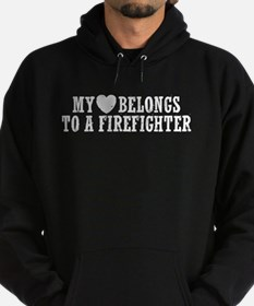 My Heart Belongs to a Firefighter Hoodie (dark)