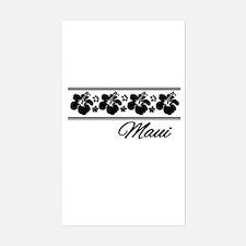 B & W Maui Hibiscus Sticker (Rectangle)