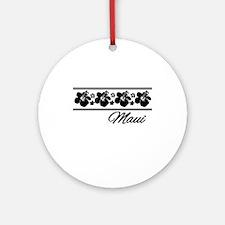 B & W Maui Hibiscus Ornament (Round)