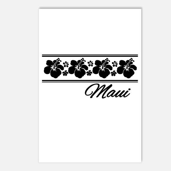 B & W Maui Hibiscus Postcards (Package of 8)