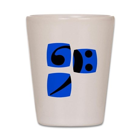 Bass clef for bass player and bass play Shot Glass