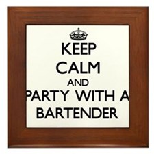 Keep Calm and Party With a Bartender Framed Tile