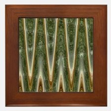 Olive Green Abstract Pattern Framed Tile