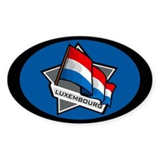 """Luxembourg Star Flag"" Oval Stickers"