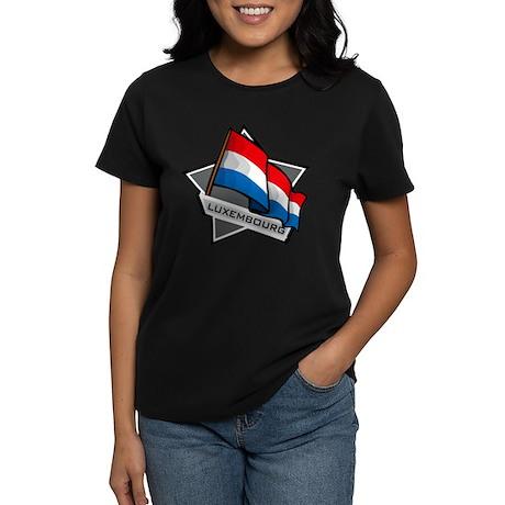 """""""Luxembourg Star Flag"""" Women's Dark T-Shirt"""