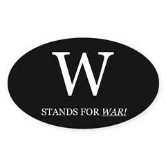 W Stands For WAR! Oval Decal