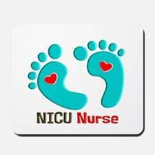 NICU nurse t-shirt blue feet Mousepad