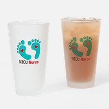 NICU nurse t-shirt blue feet Drinking Glass
