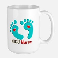 NICU nurse t-shirt blue feet Mugs