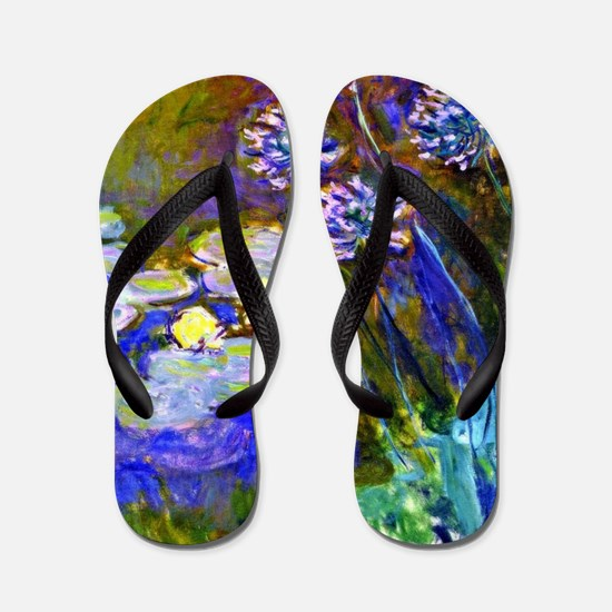 Monet - Water Lilies and Agapanthus Flip Flops