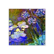 """Monet - Water Lilies and Ag Square Sticker 3"""" x 3"""""""