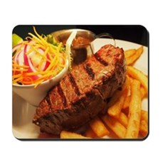 BBQ steak, chips and salad Mousepad