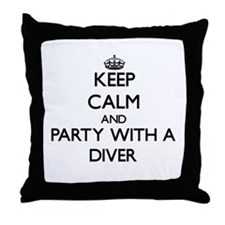 Keep Calm and Party With a Diver Throw Pillow