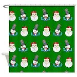 Santa Snowman Christmas Pattern Shower Curtain