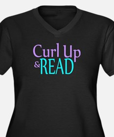 Curl Up and Read Women's Plus Size V-Neck Dark T-S