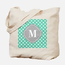 Monogrammed Mint White Polka Dots Tote Bag