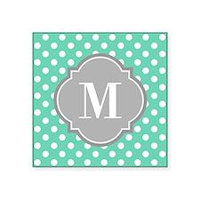 Monogrammed Mint White Polka Dots Sticker