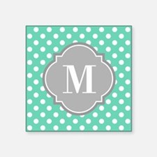 Monogrammed Mint White Polka Dots Sticker