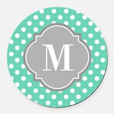 Monogrammed Mint White Polka Dots Round Car Magnet