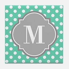 Monogrammed Mint White Polka Dots Tile Coaster