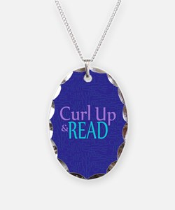 Curl Up and Read Necklace Oval Charm