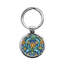 Blue Norway Round Keychain