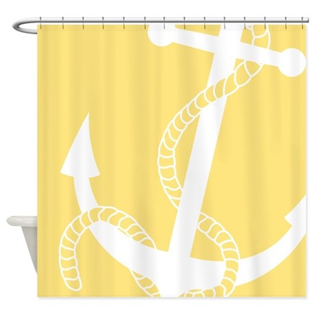 Nautical Big Anchor Light Yellow Shower Curtain By PinkInkArt2