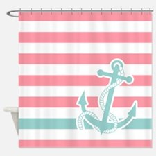 Nautical Anchor Stripe Pink Blue Shower Curtain