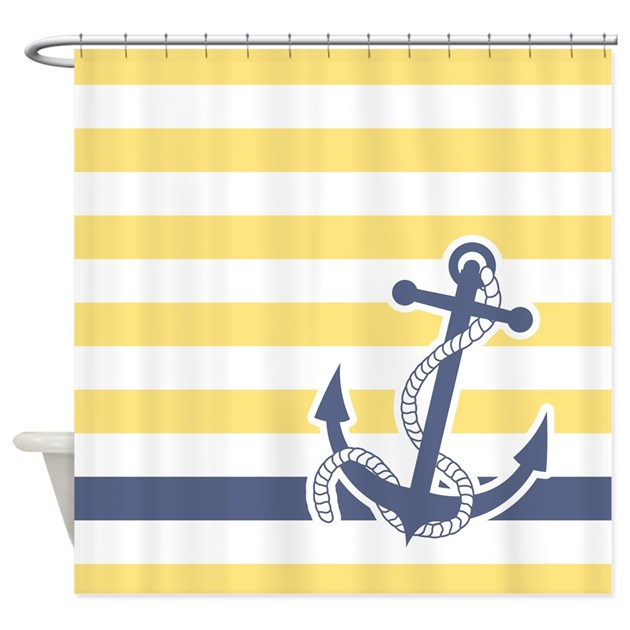 Nautical Anchor Stripe Light Yellow Shower Curtain By
