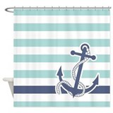 Blue stripe nautical Shower Curtains