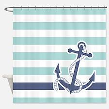 Nautical Anchor Stripe Light Blue Shower Curtain