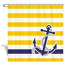 Nautical Anchor Stripe Yellow Shower Curtain