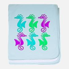 Seahorse Parade baby blanket