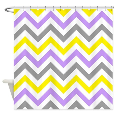 Yellow Gray And Purple Chevrons 2 Shower Curtain By Laughoutlouddesigns1