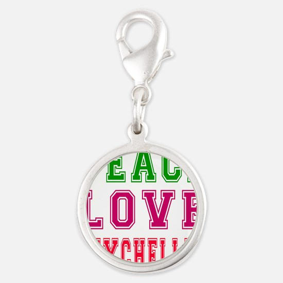 Peace Love Seychelles Silver Round Charm