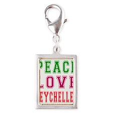 Peace Love Seychelles Silver Portrait Charm