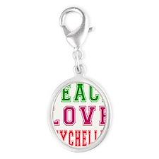 Peace Love Seychelles Silver Oval Charm