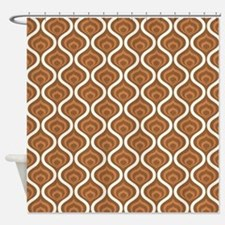 Brown Retro Waves Shower Curtain